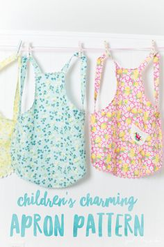 Children's Charming Apron Pattern featuring Dainty Darling fabric designed by Lindsay Wilkes for Riley Blake Designs