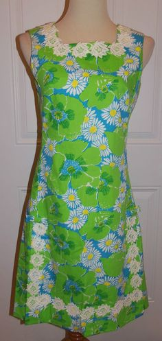 Vtg Lilly Pulitzer The Lilly Shift Dress Sz 10 Sleeveless Green Floral Lace Slit #LillyPulitzer #Shift #Casual