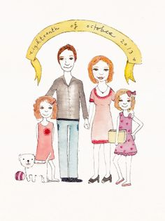 Custom Illustration of Your Family by JessesMess on Etsy, $90.00