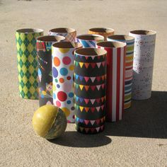 Toilet paper roll bowling - 8 adorable easy homemade party games and activities.