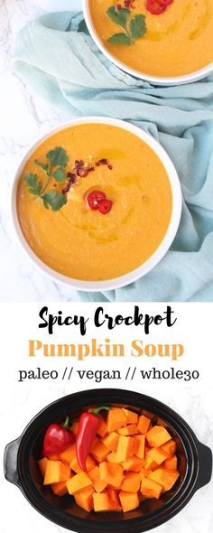 Set it and forget it, this healthy Crockpot Pumpkin Soup is only 6 ingredients and makes dinner a breeze. It's paleo, vegan, gluten free, and Whole30 complaint! - Eat the Gains