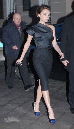 Victoria Beckham in Victoria Beckham dress Louboutin pumps