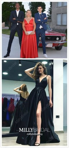 Red Formal Dresses Long Prom Dresses With Slit, A-line Evening Dresses Satin, Open Back Wedding Party Dresses V-neck Unique Formal Dresses, Formal Dresses Online, A Line Prom Dresses, Pageant Dresses, Modest Dresses, Homecoming Dresses, Graduation Dresses, Prom Gowns, Dress Online