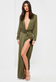 Missguided - Green Wrap Front Shirt Maxi Dress Party Fashion fb4ad8ae5