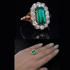 antique c. 1890 emerald and diamond cluster ring