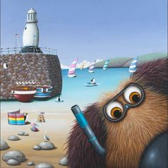 Snorkel in the Harbour by Simon Clarke St Ives, Whimsical Art, Illustrations, Dog Art, Snorkeling, Book Lovers, Sheep, Cute Pictures, Arts And Crafts