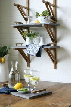Farmhouse Shelves with Concrete Trays