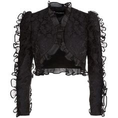 Dolce & Gabbana Cropped Jacquard Jacket (€1.915) ❤ liked on Polyvore featuring outerwear, jackets, tops, dolce & gabbana, bolero, print jacket, jacquard jacket, ruffle jacket, ruffle bolero jacket and pattern jacket
