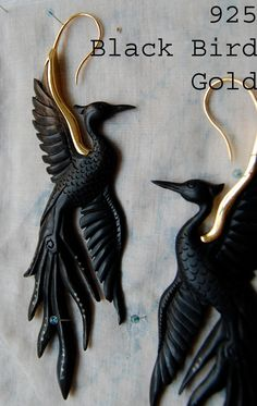 Black Bird Earrings by OpulentAntiquity on Etsy, $180.00