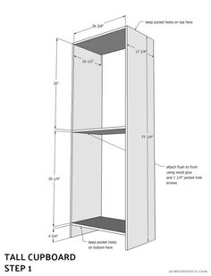 tall cupboard - buildsomething.com Diy Kitchen Storage Cabinet, Tall Kitchen Cabinets, Cupboard, Tall Cabinet Storage, Diy Furniture Building, Furniture Ideas, Wooden Projects, Wood Patterns, Reno