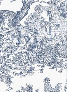 Chateau de Loir Toile Wallpaper Pastoral scenic Toile de Jouy wallpaper in blue on off white