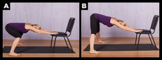 modified wide legged downward dog yoga pose using a chair.