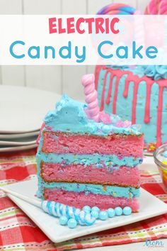 If you're looking for a fun summer dessert or an eye-popping birthday cake for one of the kids, then look no further! This awesomely fun Electric Candy Cake is truly a show stopper! It's also as delicious as it looks! The kids are sure to squeal in delight when they see this fun creation! Round Cake Pans, Round Cakes, Sweets Recipes, Cake Recipes, Lime Cake, Candy Cakes, Trifle Recipe, White Cake Mixes, Poke Cakes