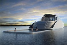 A stylish yacht concept by Vuk Dragovic features a fold-out swimming pool using sea water with solid sides, floors and seating. Keeps the relaxation in and the sharks out.