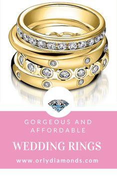 Yellow gold and diamond wedding bands at Orly Diamonds