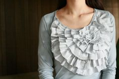 DIY Ruffle Tee out of two upcycled shirts tutorial. Would be really cute with a large button in the center ruffle. Life is Beautiful