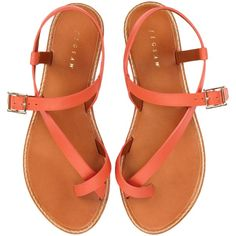Jigsaw Marina Leather Sandals , Orange ($34) ❤ liked on Polyvore featuring shoes, sandals, flats, flat sandals, strap sandals, leather flats, thong sandals, summer sandals and flat pumps