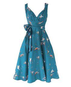 Vintage style Teal bird print 50's tea dress