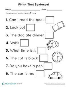 Preschool Reading Writing Worksheets: Finish That Sentence: Punctuation English Grammar For Kids, English Grammar Worksheets, Writing Worksheets, Worksheets For Kids, Blends Worksheets, Kindergarten Learning, Preschool Curriculum, Kindergarten Worksheets, Homeschooling