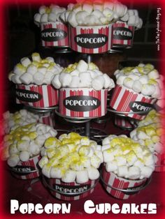 Academy Awards Party: Cupcakes decorated like popcorn!