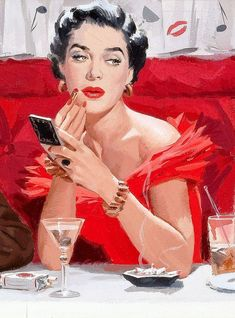 Paul Callan Burns. LOVE the curtains behind her.  Martini glasses and lipsticked lips.