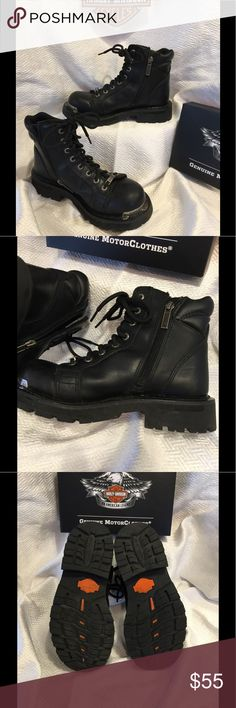 Steel Toe Harley Davidson Boots Very little wear on these size 6 Harley Davidson combat boots. Black, waterproof, great condition! Harley-Davidson Shoes Combat & Moto Boots