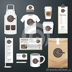 restaurante vector de café puestas volante, menú, paquete, camiseta, gorra, diseño uniforme