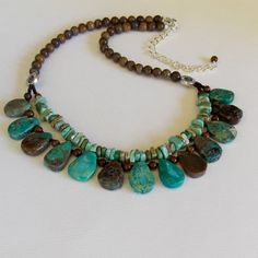 Rustic Turquoise & Brown Layered Stone Necklace