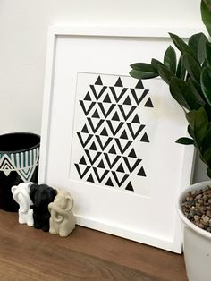 Black And White Tribal Triangle Wall Art Modern Boho