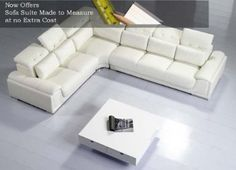 UK Furniture Point/ Camellia White Top Graded Real Leather Corner Sofa Suite/ Ref # 00T93C: Amazon.co.uk: Office Products