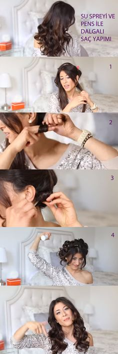 Su spreyi ve tel toka ile dalgalı saç yapımı.  http://www.saclarimveben.com/isi-kullanmadan-yapilan-dalgali-sac-modelleri/