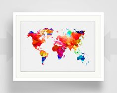World Map Print Earth Art Watercolor Nursery by EscapeModulePrints