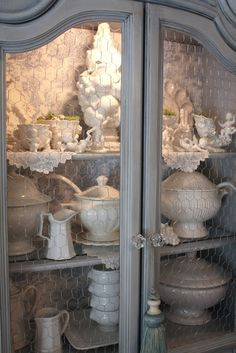 """""""Toile was often used on the interiors of cabinets. (Photo courtesy of House Beautiful)"""""""