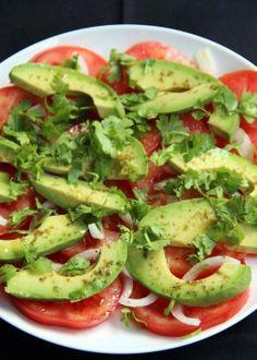 tomate, cebola, abacate e cuentro