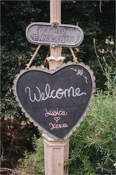 welcome heart chalkboard wedding sign