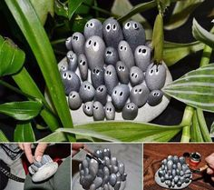 Pebble and Stone Crafts - Family Of Little Rocks - DIY Ideas Using Rocks, Stones and Pebble Art - Mosaics, Craft Projects, Home Decor, Furniture and DIY Gifts You Can Make On A Budget http://diyjoy.com/diy-pebble-stone-crafts