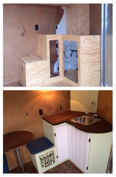 Water tank in corner behind counter top with small boot box storage #horse trailer #trailer organization #tack room