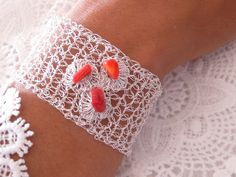 Crochet silver plated bracelet // non-tarnishable metal wire knitted like bracelet with red coral gemstones// by FlowCrochet on Etsy