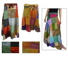 Bohemian style looks so comfortable. From the Hunger Site Store. https://www.thechildhealthsite.com/store/ths/item/34615/recycled-sari-wraparound-skirt?4&source=4-2873-1