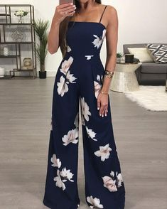 Shop Floral Spaghetti Strap Wide Leg Jumpsuit right now, get great deals at Joys. Shop Floral Spaghetti Strap Wide Leg Jumpsuit right now, get great deals at Joyshoetique. - Jumpsuits and Romper Summer Outfits, Casual Outfits, Cute Outfits, Fashion Outfits, Style Fashion, Womens Fashion, Women's Casual, Fashion Clothes, Fashion Ideas