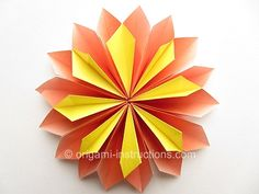 Origami Yamaguchi Dahlia.  Tutorial for this and other origami on the site