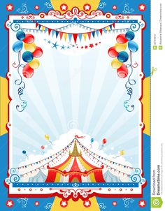 Illustration about Circus poster with space for text. Illustration of retro, balloon, shape - 32184347 Carnival Posters, Circus Poster, Carnival Themes, Party Themes, Farm Themed Party, Carnival Themed Party, Carnival Birthday Parties, 1st Birthday Photoshoot, Baby Boy 1st Birthday