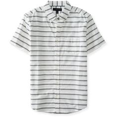 Aeropostale Short-Sleeve Stripe Woven Shirt ($14) ❤ liked on Polyvore featuring…