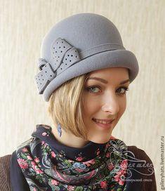 Купить Шляпка Марика серо-голубого цвета - серый, шляпка, головные уборы, ретро стиль
