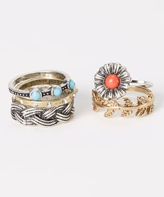 Loving this Two-Tone & Coral Flower Ring Set on #zulily! #zulilyfinds