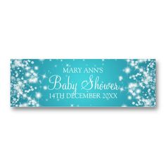 Baby Shower Favor Tag Winter Sparkle Turquoise Business Card