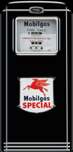 Mobilgas Special Gas pump Refrigerator wrap sticker, Red, Black, man cave idea