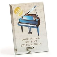 Personalized Glass Award Plaque at The Music Stand - $27.95. 36 original and exclusive designs, personalized to your specifications up to 70 characters.