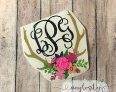 Antler Monogram DECAL ONLY Antler Monogram Decal by KraftyFlamingo