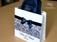 Navy Blue Wedding Welcome Bags with satin ribbon by WeddingUkraine
